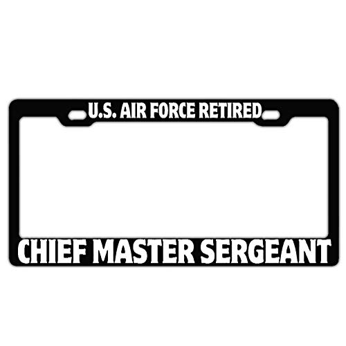 U.S. Air Force Retired Chief Master Sergeant Black Customized License Plate Frame, Car Tag Frame License Plate Cover Holder, Auto Car Truck for US Standard and Screws Chief Master Of The Air Force