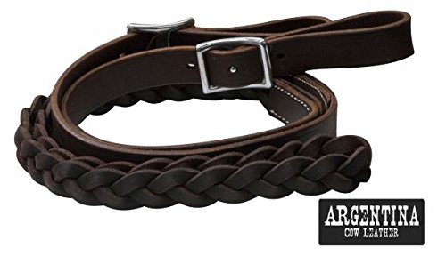 Showman 7' Burgundy Argentina Cow Leather Contesting Barrel Reins with Three Strand Braided in Center