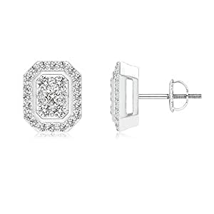 Angara Scattered Round Diamond Composite Octagon Stud Earrings