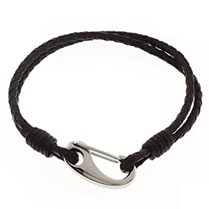 """Men's 8"""" Dark Brown Leather Bracelet With Stainless Steel Clasp"""