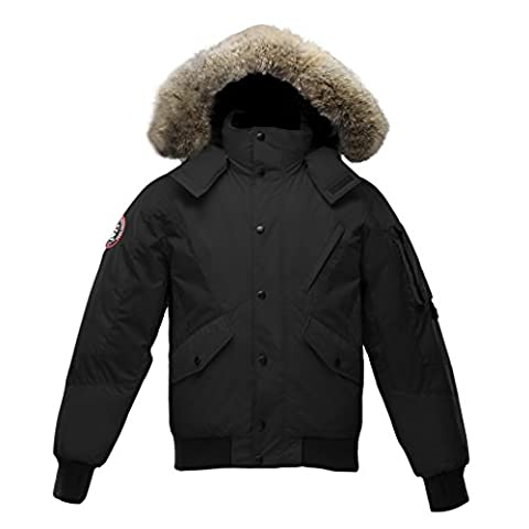 Triple F.A.T. Goose Mens Scotia Goose Down Jacket with Real Coyote Fur (XXX-Large, Black) - Micro Puff Vest