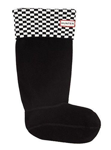 Hunter Original Tall Square Brick Boot Socks Black/White MD (Women's Shoe 5-7)