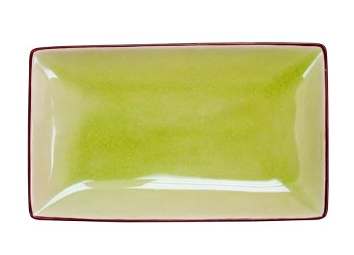CAC China 666-34-G Japanese Style 8-1/2-Inch by 5-1/2-Inch Golden Green Rectangular Platter, Box of 24 by CAC China