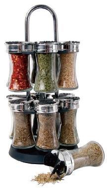 Orii Gourmet Flared 12 Jar Twin Tier Spice Rack, Glass GSR3115