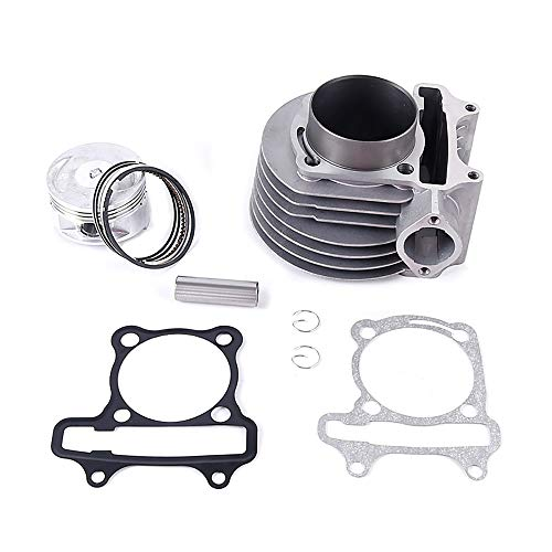 Chanoc 57.4mm Cylinder Piston Kit for 4 Stroke GY6 150cc ATV Go Kart Scooter 157QMJ Engine