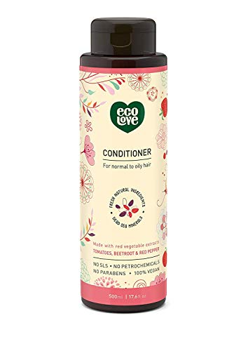 100% Vegan Conditioner by EcoLove Made with Organic Tomato Beetroot and Red Pepper for Normal to Oily Hair Cruelty Free Organic Natural SLS Free - 17.6 oz - Red Organic Conditioner