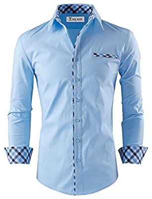 TAM WARE Mens Premium Casual Inner Contrast Dress Shirt
