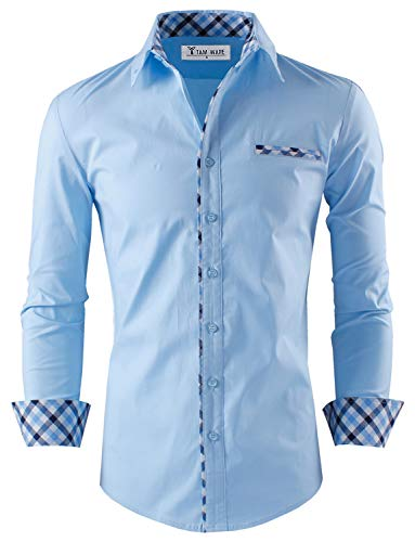 - TAM WARE Mens Premium Casual Inner Contrast Dress Shirt TWNMS310S-1-SKYBLUE-M