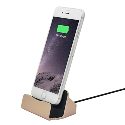 iPhone Charging Dock Desk Stand ,Stand Charger Lightening docking Cradle Holder for office Station Kitchen Compatible iPhone X/8/8 Plus/7/7Plus/6/6 Plus/6s/6s Plus/5/SE,iPad Mini, Color (Gold)