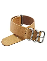 Green Olive 20mm Nato Style Leather Watch Strap Watch Bands Bracelet Stainless Steel Buckle (Beige)