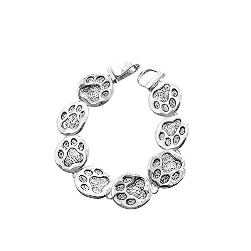 Icon Collection Antiqued Silver Linked Paw Print Bracelet