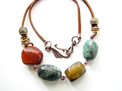 Turquoise Jasper Tiger Eye Beaded Gemstone Necklace Bohemian Suede Multi Stone Semi Precious Jewelry for Women