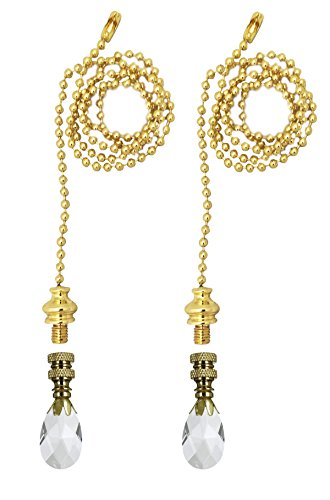 - Royal Designs Fan Pull Chain with Teardrop Crystal Finial – Polished Brass – Set of 2