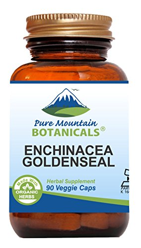 Echinacea Goldenseal Capsules - 90 Kosher Vegetarian Caps - Now with 450mg Organic Echinacea Goldenseal Complex - Nature's Gold Standard Supplement by Pure Mountain (Echinacea Root Complex 100 Capsules)