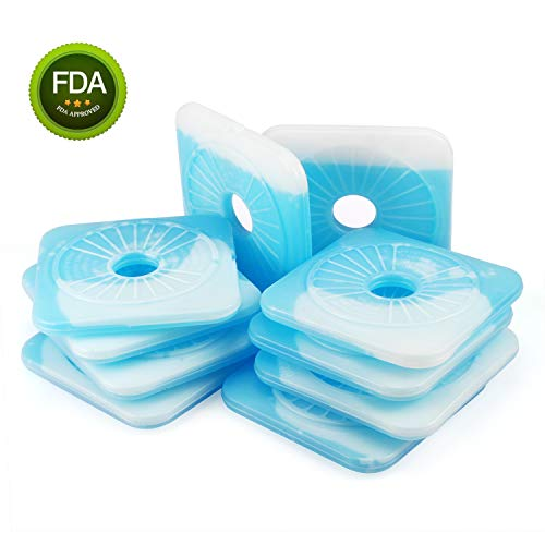 Ice Pack Reusable Ice Packs for Kids Lunch Boxes-Cool Pack Keep Food Cold,Ice boxes for lunch Boxes -Freezer Cold Packs,Set of 10-Ice Lunch Chillersmake Fruit Fresh,Gel Cold Great Ice Pack for Cold ()