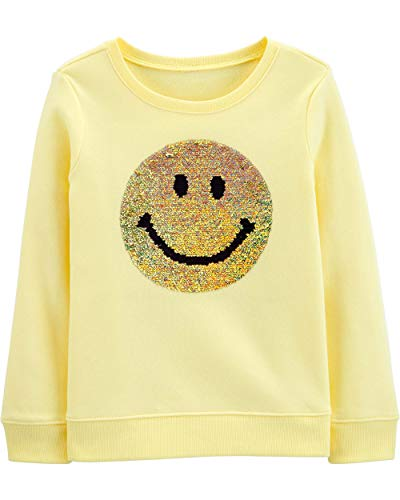 Osh Kosh Girls' Big Sequin Crew Neck Sweatshirt, Emojis, 7