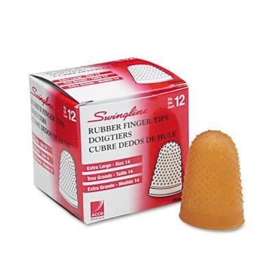 Rubber Finger Tips, Size 14, X-Large, Amber, 1/Dozen, Sold as 2 Dozen by Swingline