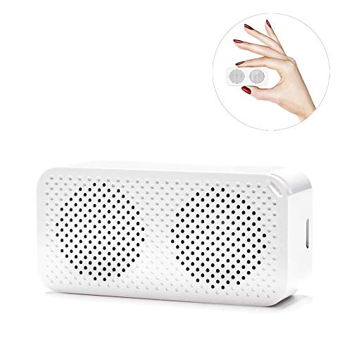 Tiny Tiny Speaker - JohnBee Mini Bluetooth Speakers Portable Wireless, Dual Speakers with Bass,Selfie Shutter Button, Built-in mic, TWS Technology Support 2 Audio Interconnection(White)