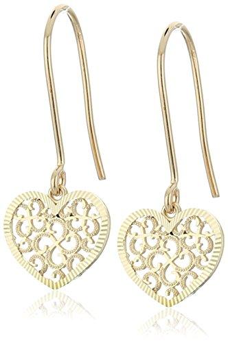 14k Yellow Gold Swiss Cut Heart Novelty Dangle Earrings (Swiss Yellow 14k Gold)