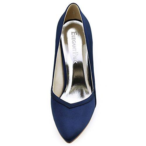 ElegantPark HC1603 Women's Pointed Toe High Heel V Cut Slip on Satin Dress Pumps Navy Blue US 9.5 by ElegantPark (Image #3)