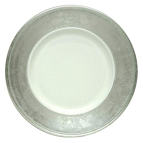 Dinnerware Set. Classic Style, Round, Decorative Dinner Dish Kit For 4 Person. Contemporary Home Kitchen Everyday Dishware, Accent For Dinner Plates. Durable, Melamine Tableware In White & Silver.