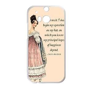 Austen Happy HTC One M8 Cell Phone Case White TPU Phone Case SV_284233