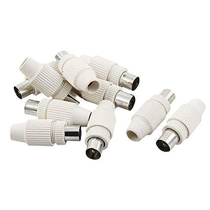 eDealMax 10 piezas DE 9,5 mm Blanco Masculino de televisión por Cable de antena