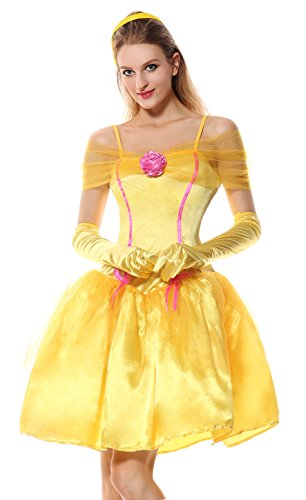 Cheap Princess Costumes For Adults (Lusiya Women's Adult Princess Fairy Tale Plus Size Costume Yellow X-Large)