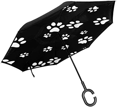 ホワイトブラック ユニセックス二重層防水ストレート傘車逆折りたたみ傘C形ハンドル付き