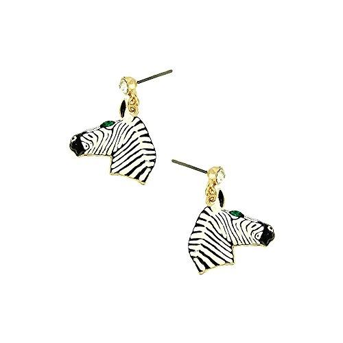 Zebra Earrings (Liavy's Zebra Fashionable Earrings - Enamel - Dangle Post - Sparkling Crystal - Unique Gift and Souvenir)
