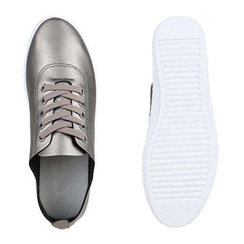 Stiefelparadies Damen Sneakers Halbschuhe Brogues Freizeit Schuhe Casual Style Flandell Grau Metallic Camargo