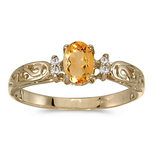 FB Jewels 14k Yellow Gold Genuine Birthstone Solitaire Oval Citrine And Diamond Filagree Wedding Engagement Statement Ring - Size 8 (0.31 Cttw.)