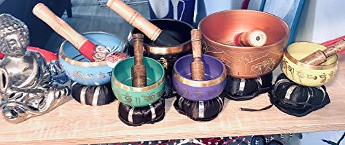 Tibetan Singing Bowl Set By Dharma Store - With Traditional Design Tibetan Buddhist Prayer Flag - Handmade in Nepal (Blue)