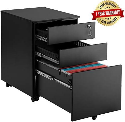 Steel File Cabinet 3 Drawer with Lock Mobile Pedestal Under Desk Fully Assembled Except for 5 Castors Black