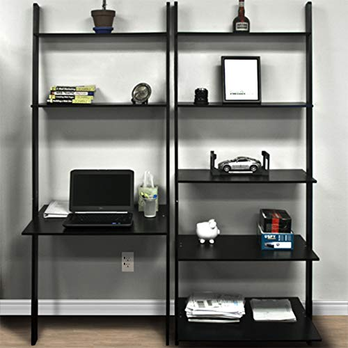 poppip Black Wood Leaning Shelf Computer Laptop Desk Bookcase Home Office Furniture New (Bookcase Tv Lcd)