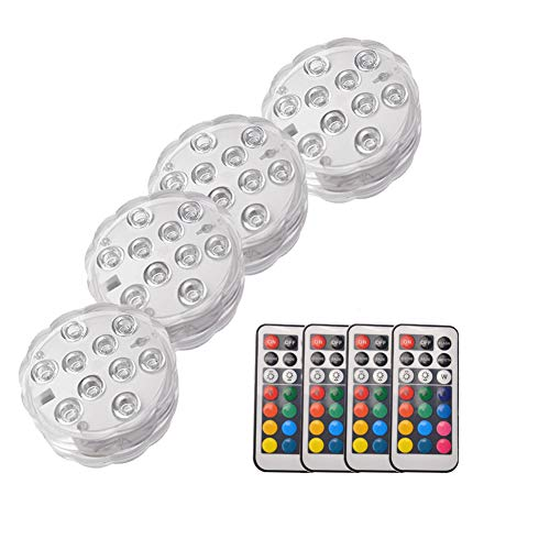 OUSHE 4PCS Submersible LED Lights Waterproof Underwater IR Remote Controlled 10-LED Battery Powered RGB Changing Multi Color Light Decoration Event Party/Aquarium/Home/Swimming Pool/Pond/Gardens by OUSHE