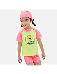Kingswell Toddlers Swimsuit Girls Two-Piece Bathing Suit Quick Drying UPF 50+ UV Sun Protection Tankini with Swim Hat Short Sleeve for Little Girls, PinkYellow