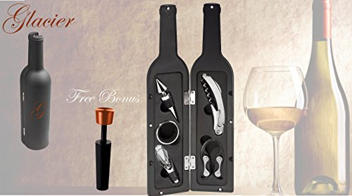 Premium Wine Tool Gift Set Bottle Shaped Storage Case with Free Bonus Matching Decorative Vacuum Wine Preserver / Stopper Cork Replacer Corkscrew Bottle Opener Drip Ring Foil Cutter and Wine Pourer