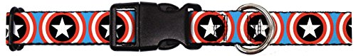 Buckle-Down Dog Collar Plastic Clip Buckle - Captain America Shield Repeat Blue - 1.5