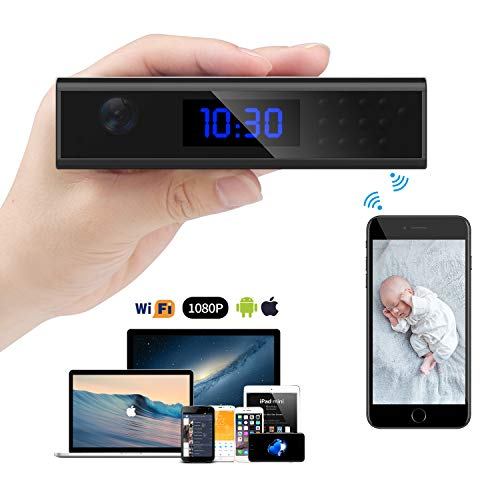 ra, Relohas Pro Spy Camera WiFi HD 1080P Recorder with Alarm Clock, Covert Cameras Infrared Night Vision, 140°Angle Nanny Cam with Monitoring Detection to Indoor Home Security ()