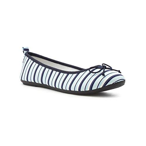 Lilley Womens White and Navy Stripes Ballerina Multicolour 0qgI08