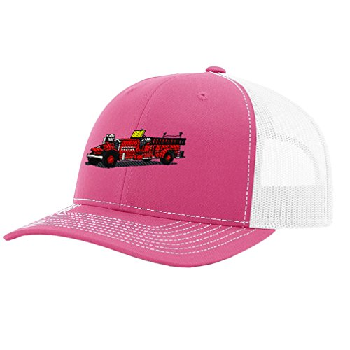 Antique Fire Truck Embroidery - Speedy Pros Antique Fire Truck Embroidery Design Richardson Structured Front Mesh Back Cap Hot Pink/White
