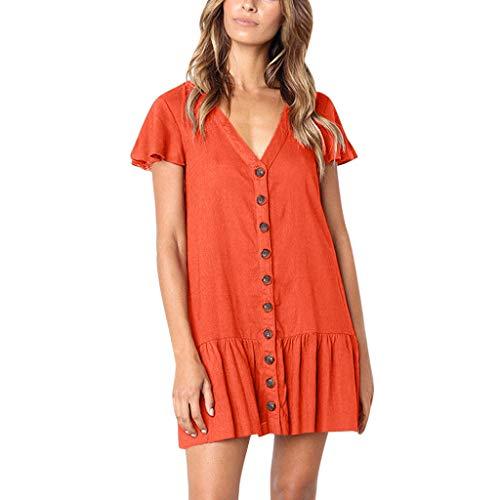 WOCACHI Women's V-Neck Ruffles Flare Sleeve Dresses Button Sundress Boho Casual Mini Dress Pleated Swing Flowy A-Line Dress Above Knee Beachwear 2019 Summer Deals Fashion Under 10 Dollars