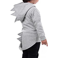Baby Boy Animal Dinosaur Fleece Zip Front Hoodie High-Low Hem Kids Sweatshirt(Grey, 140 (US 7-8))