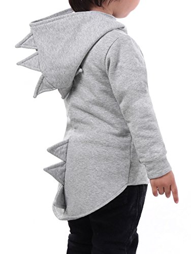 YC Fashion Baby Boy Animal Dinosaur Fleece Zip Front Hoodie High-Low Hem Kids Sweatshirt(Grey, 90(US 2T))