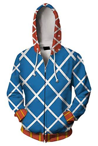 JoJo's Bizarre Adventure Jotaro Kujo Hooded Sweater 3D Printed Kujo Jotaro Zipper Coat Jacket Hoodie (XL, Guido Mista)
