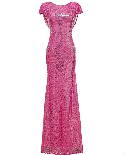 Con lucide o Rose Ladies Red Feste paillettes laurea di formali Court Women Mermaid Solovedress For Honor Long Dress fT4w8