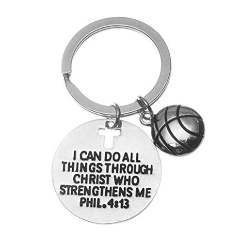 Infinity Collection Basketball Charm Keychain, Christian Faith Charm Keychain, I Can Do All Things Through Christ Who Strengthens Me Phil. 4:13 Scripture Jewelry, Basketball Gifts -