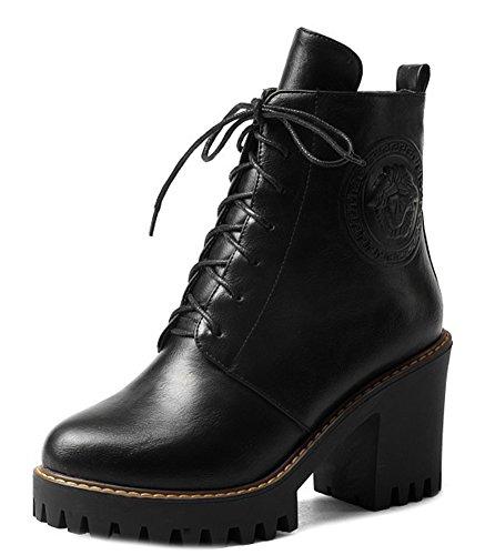 Aisun Women's Casual Platform Block Heels Block Heels Booties Black
