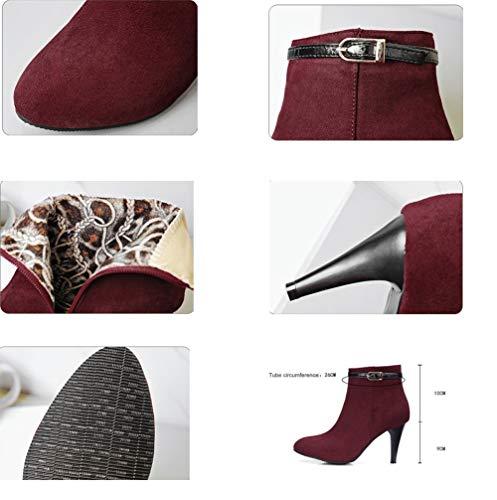 Moojm Botas de las mujeres, las mujeres botas de tobillo más terciopelo para mantener el talón de tacón de aguja caliente puntas de los pies laterales de ...